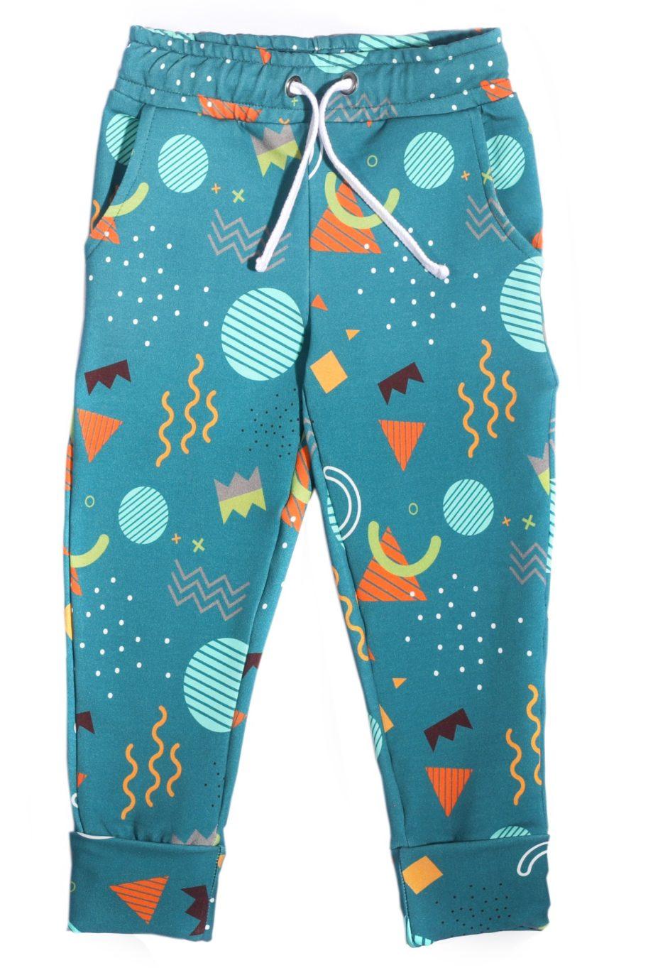 spodnie w kolorowe printy