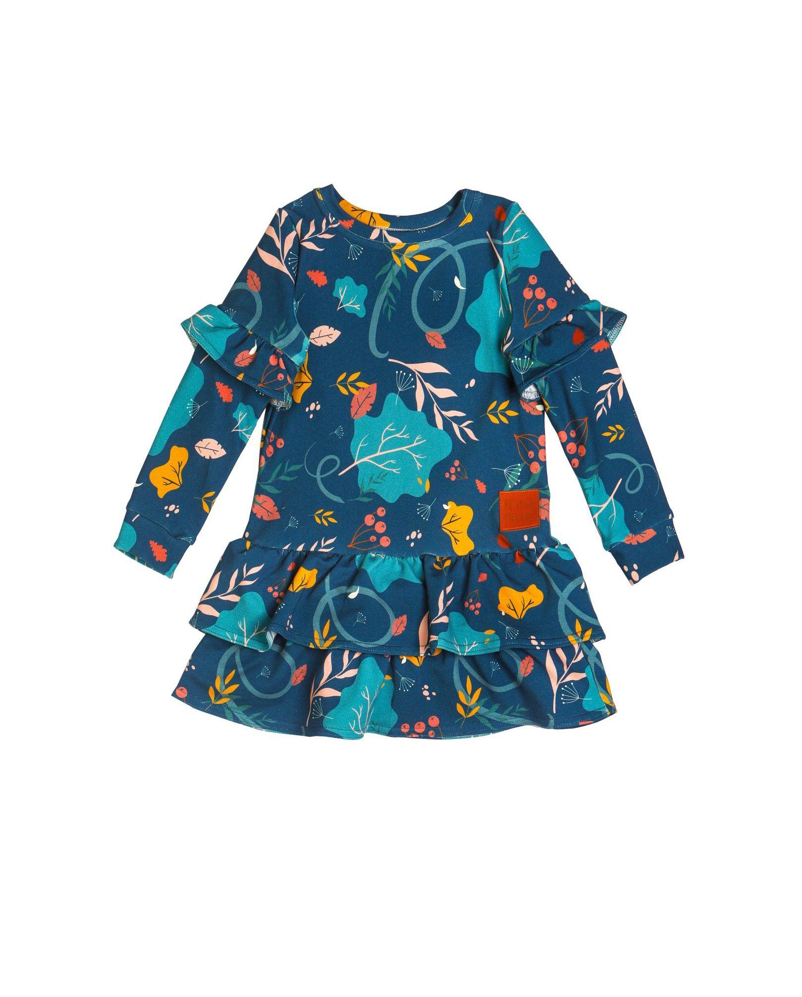 sukienka-GG-1ciemna sukienka z falbanką