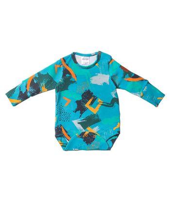 Nowatorskie body dla chłopca z bawełny, we wzory, które dzieki 2 rzędom nap starczy na min. 3 rozmiary.