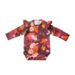 Nowatorskie body z falbanką dla niemowlaka, dziewczynki z bawełny, we wzory, które dzieki 2 rzędom nap starczy na min. 3 rozmiary.