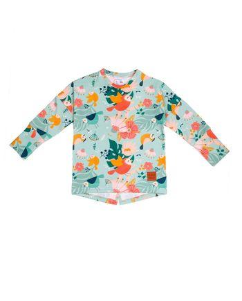 Bluzka z długim rękawem dla dziewczynki, na wiosnę rosnąca z dzieckiem, starcza na min. 3 rozmiary.