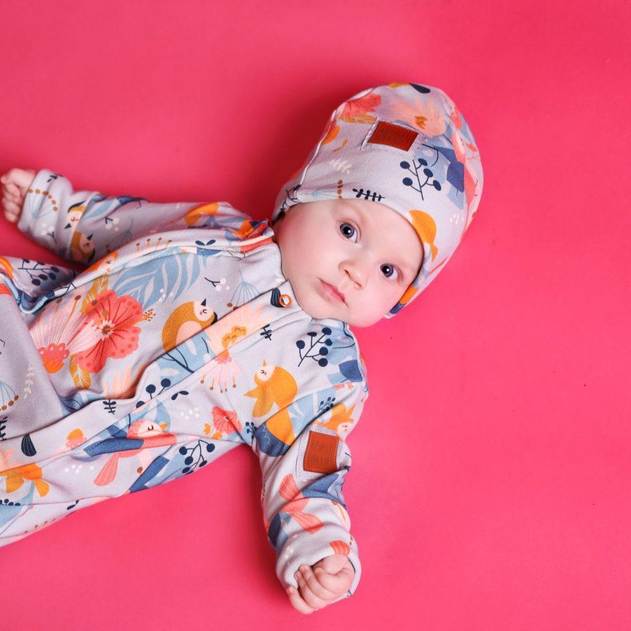 Czapka mini dla niemowlaka, certyfikowana bawełna, ROŚNIJ PIĘKNIE!