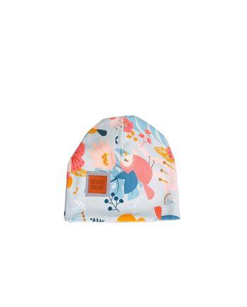 Bardzo wygodna, nieuciskająca czapka dla niemowlaka na wiosnę wykonana z certyfikowanej bawełny. Z przodu naszyty odblask. Piękne, autorskie wzory dla chłopców i dziewczynek