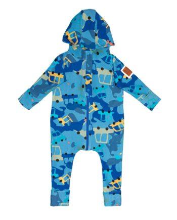 Rampers dla chłopca, uszyty z bawełny dresowej, z patentem na przewijanie, rosnący z dzieckiem. Starczy na 3 rozmiary.