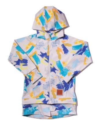 Bardzo wygodna bluza z kapturem na wiosnę dla chłopca uszyta z certyfikowanej bawełny. Bluza rośnie z dzieckiem i można ją nosić aż przez 3 rozmiary!
