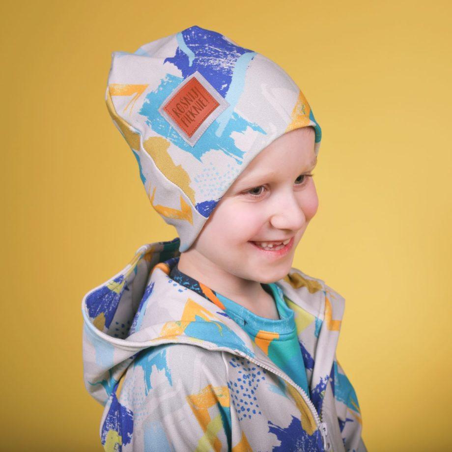 czapka dla chłopca, na wiosne, ROŚNIJ PIĘKNIE!