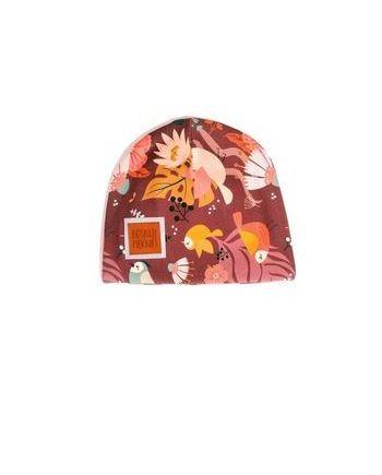 Czapka na wiosnę z odblaskiem, wykonana z certyfikowanej bawełny: nieuciskająca, bardzo wygodna. Piękne, autorskie wzory dla dziewczynek.